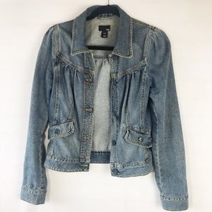H&M women's denim blue jean jacket, 4